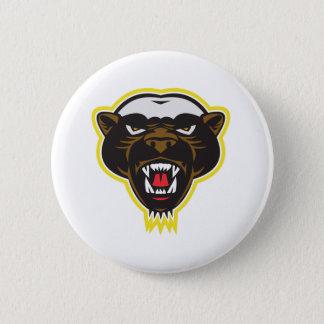 Honey Badger Mascot Head 6 Cm Round Badge