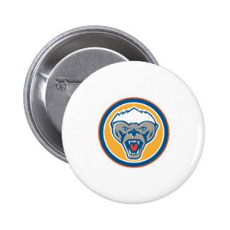 Honey Badger Mascot Head Circle Retro 6 Cm Round Badge