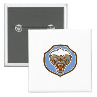 Honey Badger Mascot Head Shield Retro 15 Cm Square Badge