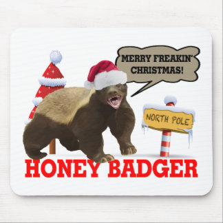 Honey Badger Merry Freakin' Christmas Mouse Pad