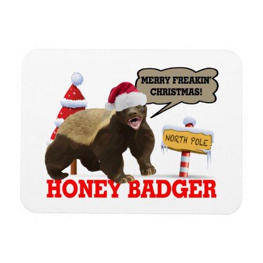 Honey Badger Merry Freakin' Christmas Flexible Magnets