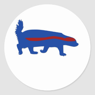 honey badger red and blue classic round sticker
