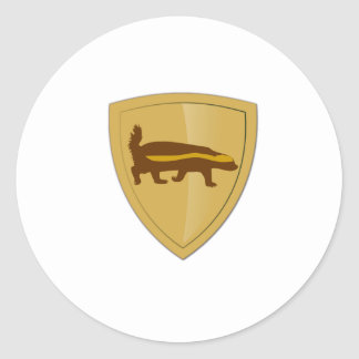 Honey Badger Shield & Crest Classic Round Sticker