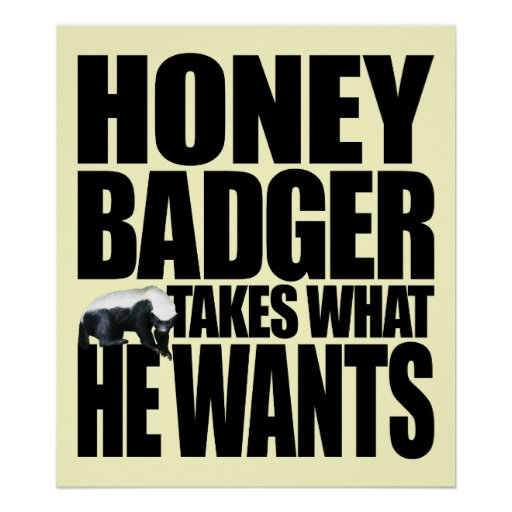 Honey Badger Takes What He Wants Poster