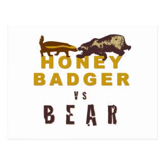 Honey Badger vs Bear Postcard