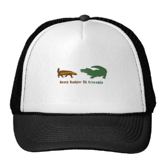 Honey Badger VS Crocodile Mesh Hats