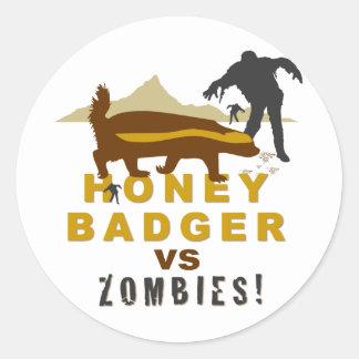 honey badger vs zombies classic round sticker