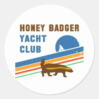 honey badger yacht club classic round sticker