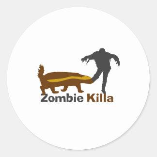 Honey Badger Zombie Killa Classic Round Sticker