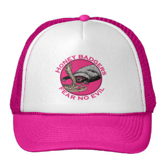 Honey Badgers 'fear no evil' Pink Design Cap