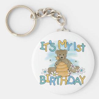 Honey Bear 1st Birthday Tshirts and Gifts Basic Round Button Key Ring