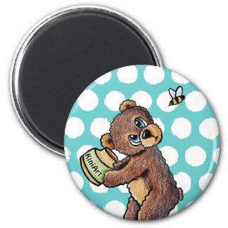 Honey Bear 6 Cm Round Magnet