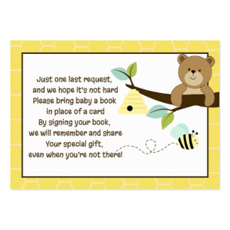 Honey Bear and Bee Book Request Cards Pack Of Chubby Business Cards