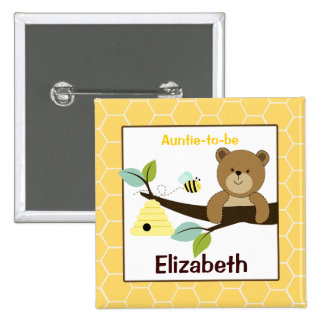 Honey Bear and Bee Customized name tag Button