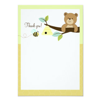 Honey Bear and Bee Flat Thank You notes 13 Cm X 18 Cm Invitation Card