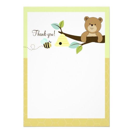 Honey Bear and Bee Flat Thank You notes Custom Invites
