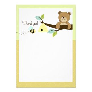 Honey Bear and Bee Flat Thank You notes Invitations