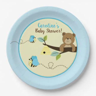 Honey Bear and Blue Bumble Bees Party Plates