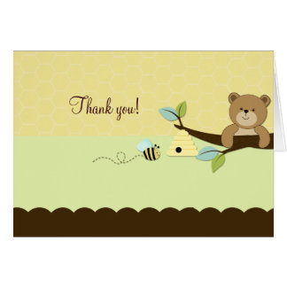 HONEY BEAR & BEE Folded Thank you note Stationery Note Card