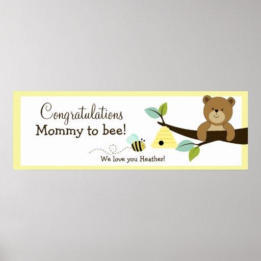 Honey Bear Custom Baby Shower Banner Print