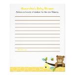 Honey Bear Custom Flyer Baby Shower Advice Cards