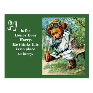 Honey Bear Harry - Letter H - Vintage Teddy Bear Postcard