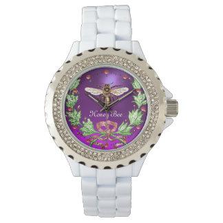HONEY BEE AND GREEN FLORAL CROWN Beekeeper Purple Watch