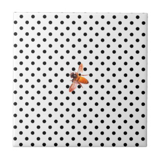 Honey Bee and polka-dots Small Square Tile