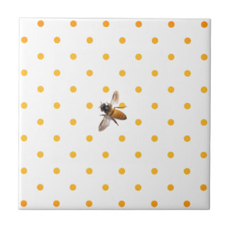 Honey Bee and polka-dots Tile