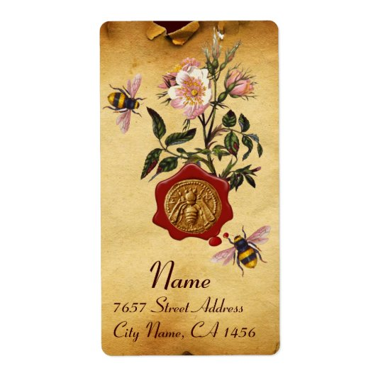 HONEY BEE AND WILD ROSES ,BEEKEEPER RED WAX SEAL