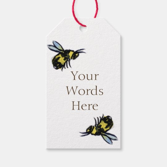 Honey Bee Art Custom Insect Gift Tags or