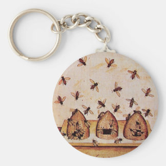 HONEY BEE BASIC ROUND BUTTON KEY RING