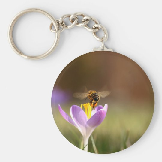 Honey bee basic round button key ring