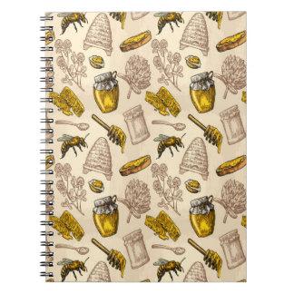 Honey Bee Beehive Golden Yellow Vintage Organic Notebook