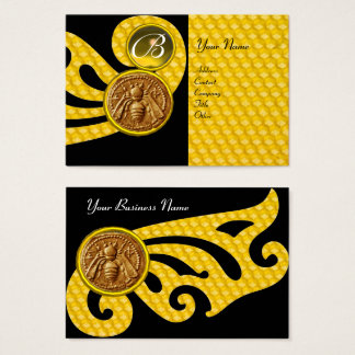 HONEY BEE ,BEEKEEPER APIARIST MONOGRAM BUSINESS CARD