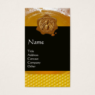 HONEY BEE ,BEEKEEPER BROWN WAX SEAL MONOGRAM BUSINESS CARD
