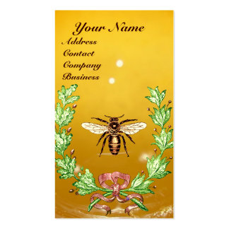 HONEY BEE BEEKEEPING WREATH RED WAX SEAL MONOGRAM BUSINESS CARD TEMPLATE