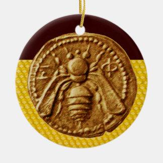 HONEY BEE, BEEKEPER ROUND CERAMIC DECORATION