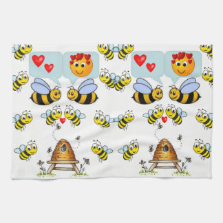 Honey Bee Black White Decorative Kitchen Towel