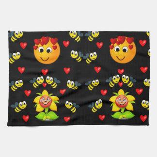 Honey bee black white decorative kitchen towel