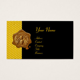 HONEY BEE BROWN WAX SEAL / Cupid the Honey Thief Business Card