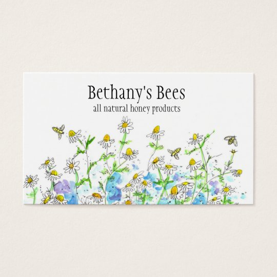 Honey Bee Business Card Chamomile Flowers Drawing