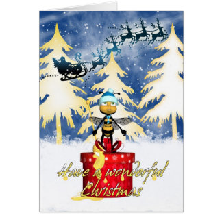 Honey Bee Christmas Card - Honey Bee And And Santa