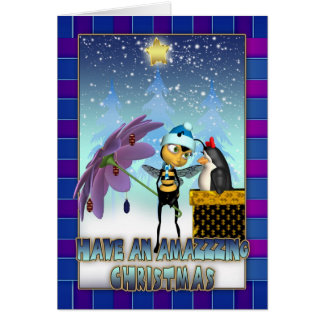 Honey Bee Christmas Card - Honey Bee And Penguin