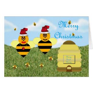 Honey bee Christmas card Italian honey bee apiary