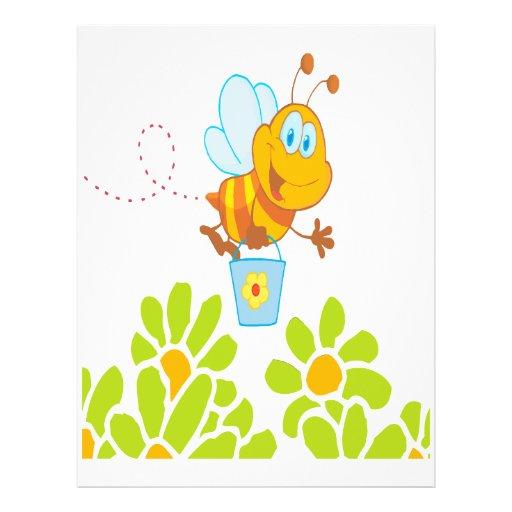 honey bee collecting honey in garden cartoon custom flyer