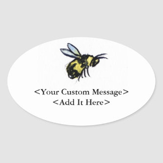 Honey Bee Customised Insect Art Oval Bug Stickers