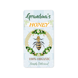 Honey Bee Floral Garden Honeycomb Pattern Label