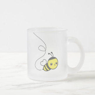 Honey Bee Frosted Glass Mug