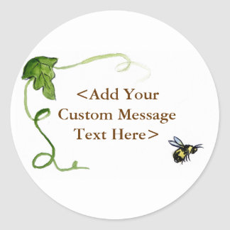 Honey Bee & Green Vine Label Stickers